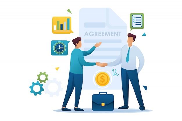 Young businessmen vereinbarung partner, wachstumspläne. flacher charakter. konzept für webdesign