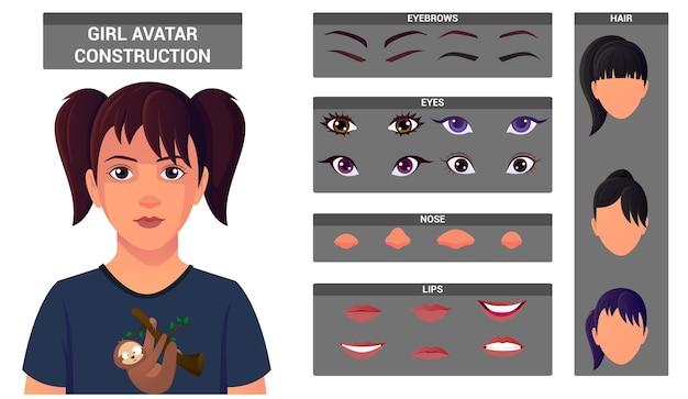 Young girl face construction pack für die avatar-erstellung. avatar-build mit kopf- und frisuren, augen, nase, mund, augenbrauen.