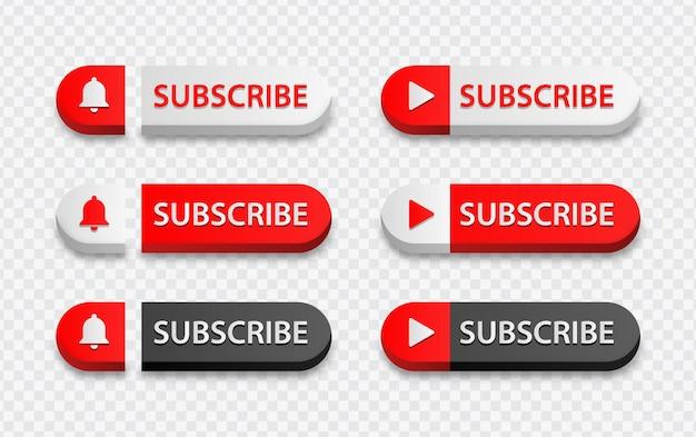 Youtube-abonnieren-schaltfläche mit benachrichtigungsglockensymbol und player-symbol