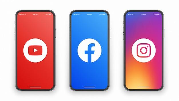 Youtube facebook instagram logo auf dem telefonbildschirm