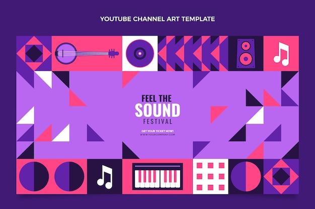 Youtube-kanal des mosaik-musikfestivals im flachen stil