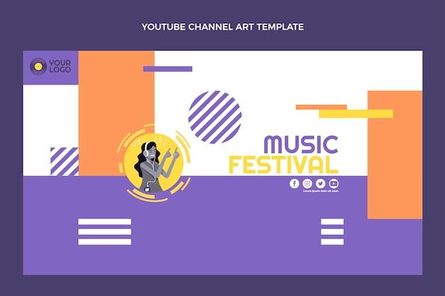 Youtube-kanal für das flache design des musikfestivals