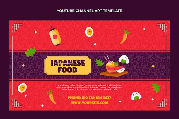 Youtube-kanal für japanisches essen im flachen stil