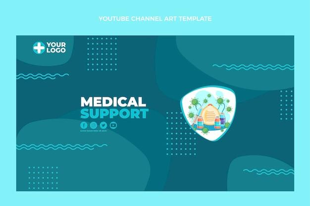 Youtube-kanal für medizinische unterstützung im flachen design