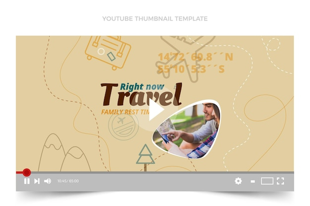 Youtube-miniaturansicht der reise im flachen design