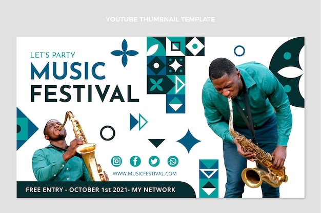 Youtube-miniaturansicht des flachen mosaik-musikfestivals