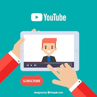 Youtube-player im gerät mit flachem design