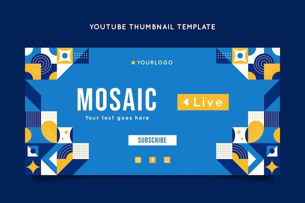 Youtube-thumbnail-vorlage für flache mosaik