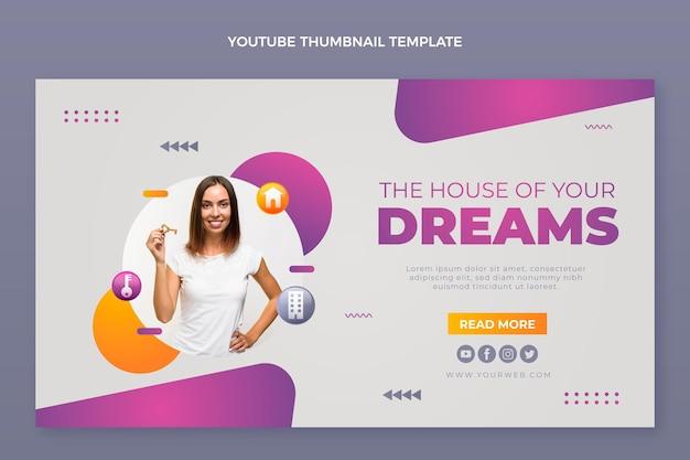 Youtube-thumbnail-vorlage für immobilien mit farbverlauf