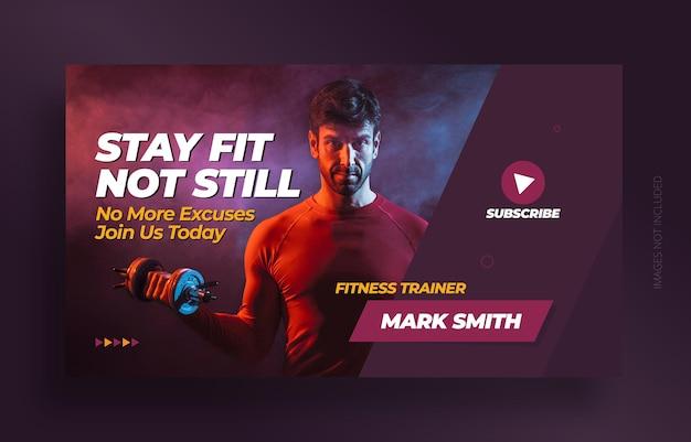Youtube video miniaturbild und web-banner-vorlage des fitnessstudios