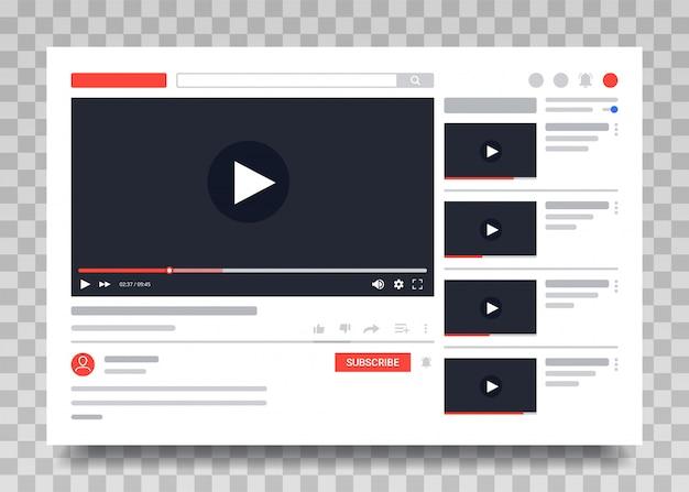 Youtube-videovorlage, pc-layout des video-players. video online-inhalte