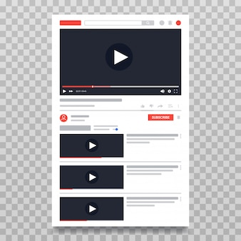Youtube-videovorlage, pc-layout des video-players. video online-inhalte