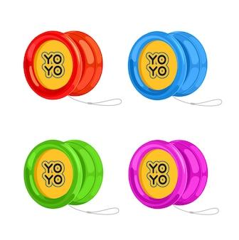 Yoyos in verschiedenen farben mit weißem faden