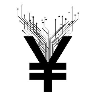 Yuan cny digitales münzsymbol mit pcb-spuren isoliert auf weiss. china-währungssymbol. vektor-illustration.
