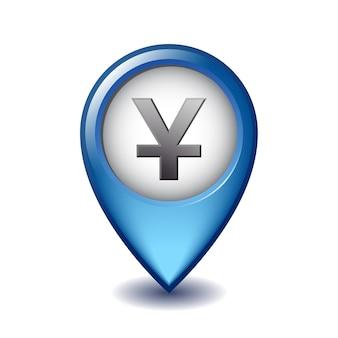 Yuan währungssymbol mapping marker symbol. illustration des yuan-kartenmarkierungssymbols auf einem weißen hintergrund.