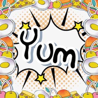 Yum pop-art cartoons mit essen