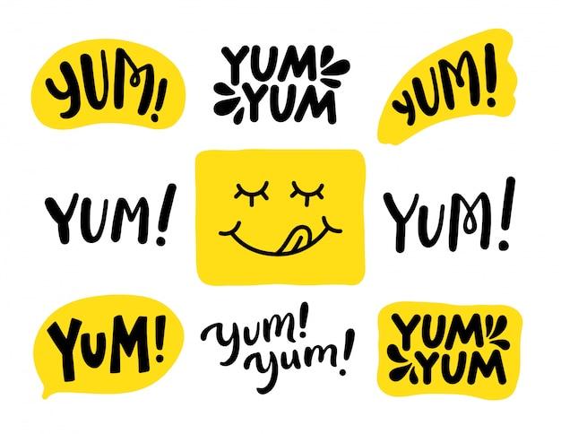 Yum yum wörter eingestellt. . beschriftung