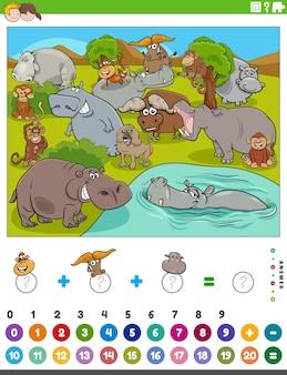 Zähl- und addierspiel mit cartoon-wildtieren