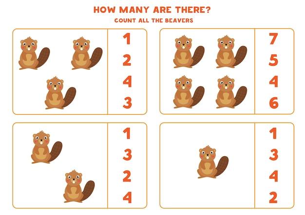 Zähle alle biber und kreise die richtige antwort ein. mathe-spiel für kinder im vorschulalter