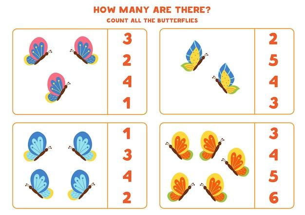 Zähle alle bunten schmetterlinge und kreise die richtigen antworten ein. mathe-spiel für kinder.