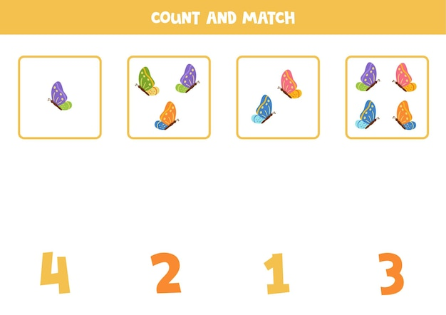 Zähle alle bunten schmetterlinge und stimme mit den richtigen zahlen überein. mathe-spiel für kinder.
