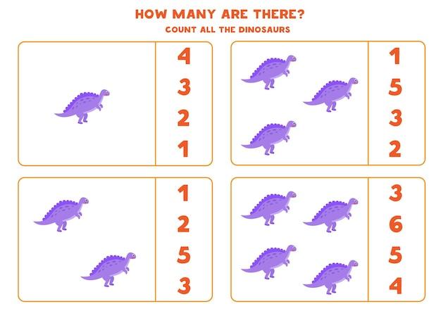 Zähle alle dinosaurier und kreise die richtige antwort ein. mathe-spiel für kinder.