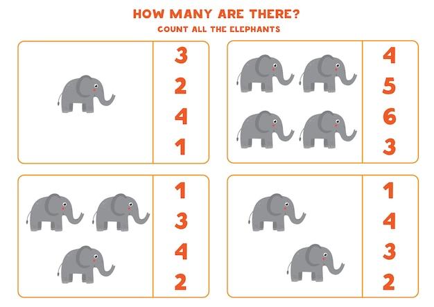 Zähle alle elefanten und kreise die richtige antwort ein
