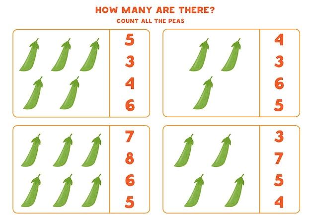 Zähle alle grünen erbsen und kreise die richtige antwort ein. pädagogisches mathe-spiel für kinder. arbeitsblatt zum zählen für kinder im vorschulalter. nummern 1-10.