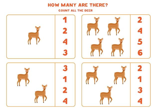 Zähle alle hirsche und kreise die richtige antwort ein. mathe-spiel für kinder im vorschulalter.