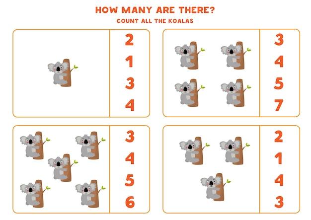 Zähle alle koalas und kreise die richtige antwort ein. mathe-spiel für kinder im vorschulalter