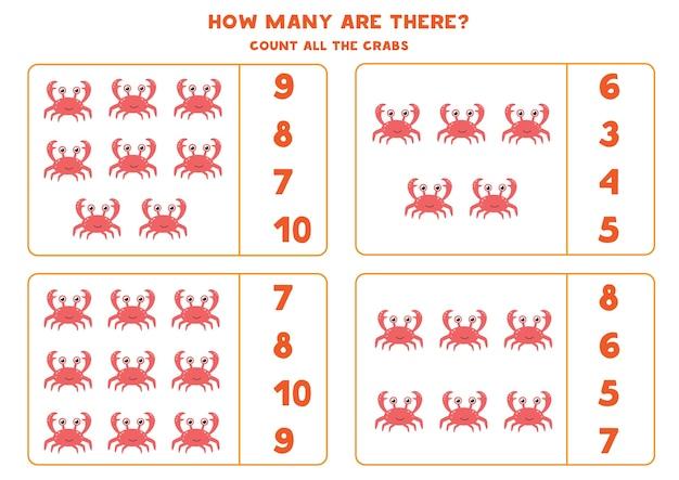 Zähle alle krabben und kreise die richtige antwort ein. mathe-spiel für kinder im vorschulalter.