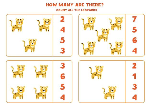 Zähle alle leoparden und kreise die richtige antwort ein. mathe-spiel für kinder im vorschulalter