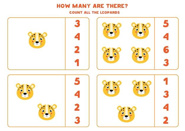 Zähle alle leoparden und kreise die richtige antwort ein. pädagogisches mathe-spiel für kinder.