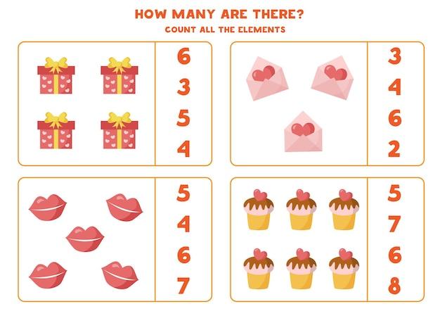 Zähle alle liebeselemente und kreise die richtige antwort ein. mathe-spiel für kinder.