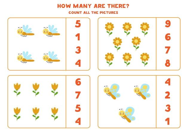 Zähle alle niedlichen insekten und kreise die richtigen antworten ein. mathe-spiel für kinder.