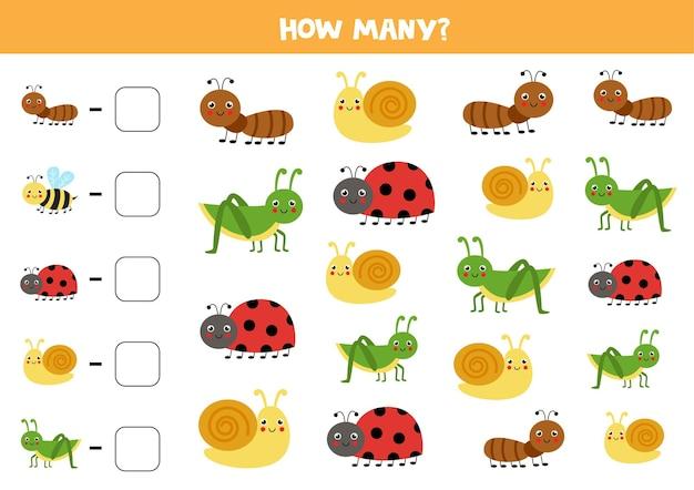 Zähle alle niedlichen insekten und schreibe die zahl in die schachtel. mathe-spiel für kinder.