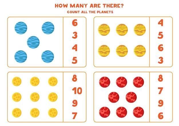 Zähle alle planeten des sonnensystems und kreise die richtige antwort ein. mathe-spiel für kinder.