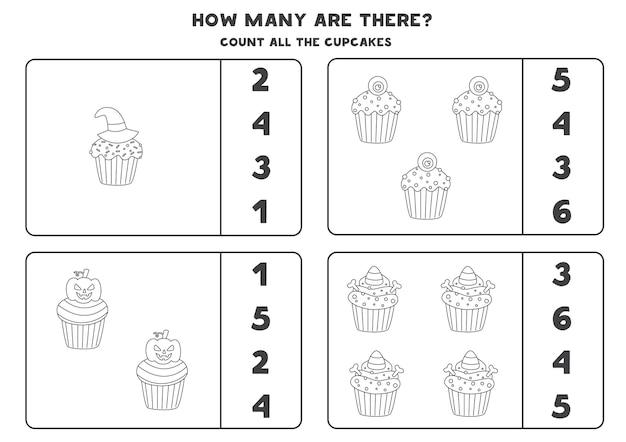 Zähle alle schwarz-weißen halloween cupcakes und kreise die richtigen antworten ein. mathe-spiel für kinder.