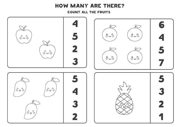 Zähle alle schwarzen und weißen früchte und kreise die richtigen antworten ein. mathe-spiel für kinder.