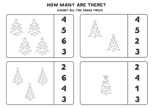 Zähle alle schwarzen und weißen weihnachtsbäume und kreise die richtigen antworten ein. mathe-spiel für kinder.