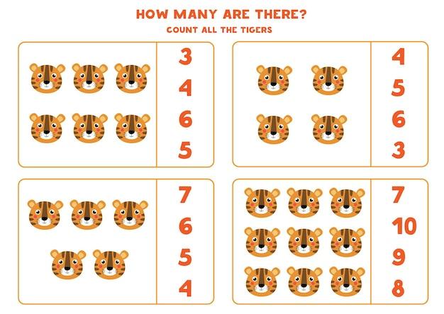 Zähle alle tigergesichter und kreise die richtige antwort ein. pädagogisches mathe-spiel für kinder.