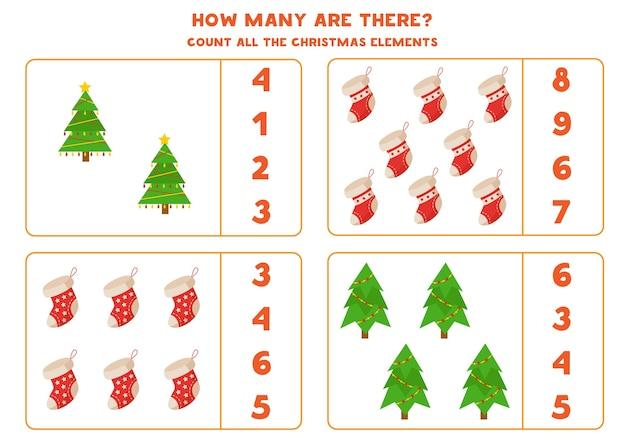 Zähle alle weihnachtsbäume und socken und kreise die richtige antwort ein. mathe-spiel für kinder