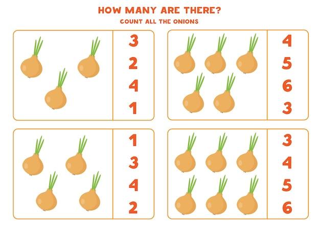 Zähle alle zwiebeln und kreise die richtige antwort ein. pädagogisches mathe-spiel für kinder. arbeitsblatt zum zählen für kinder im vorschulalter. nummern 1-10.
