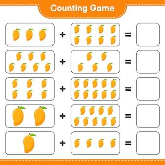 Zähle das spiel, zähle die anzahl der mangos und schreibe das ergebnis.