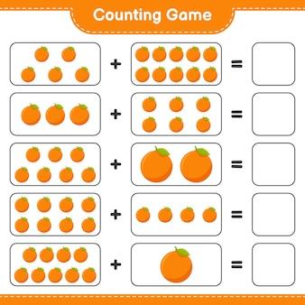 Zähle das spiel, zähle die anzahl der orangen und schreibe das ergebnis.