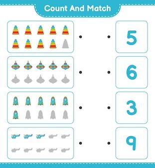 Zähle die anzahl der pyramidenspielzeug whirligig spielzeugraketenhubschrauber und ordne sie den richtigen zahlen zu