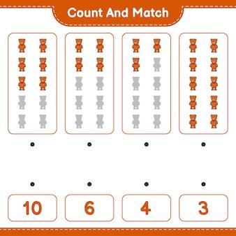 Zähle und kombiniere, zähle die anzahl der teddybären und kombiniere die richtigen zahlen. lernspiel für kinder, arbeitsblatt zum ausdrucken