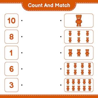 Zähle und kombiniere, zähle die anzahl der teddybären und kombiniere die richtigen zahlen. pädagogisches kinderspiel, druckbares arbeitsblatt, vektorillustration
