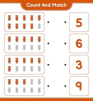 Zähle und kombiniere, zähle die anzahl der teddybären und kombiniere die richtigen zahlen.