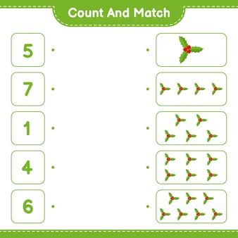 Zähle und stimme überein, zähle die anzahl der holly berries und stimme mit den richtigen zahlen überein. pädagogisches kinderspiel